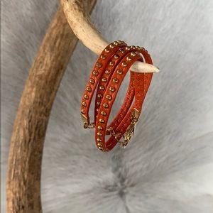Alexandra Beth Orange Leather Stud Wrap Bracelet